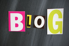 BLOG. Colorful BLOG letters on Chalkboard Stock Photo