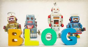 Blog con imagen del tono de los robots Foto de archivo libre de regalías
