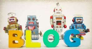 Blog con l'immagine di tono dei robot Fotografia Stock Libera da Diritti