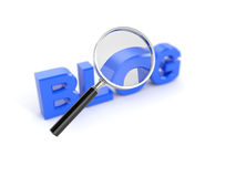 Blog concept. 3d render of blog concept with magnifying glass Stock Image