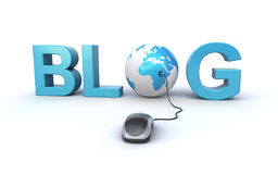 Blog concept. With a computer mouse, world globe and 3d blog text on the white background Stock Photo