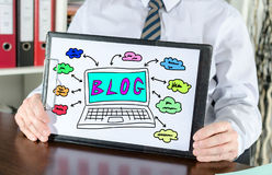 Blog concept on a clipboard. Blog concept shown by a businessman Stock Image