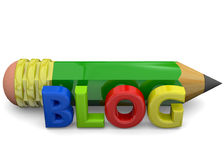 Blog Concept - 3D. Blog and pencil on white background Stock Photo