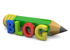 Blog Concept - 3D. Blog and pencil on white background Stock Images