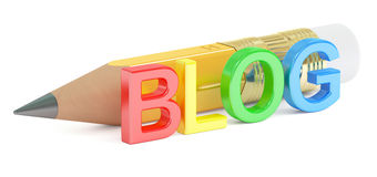 Blog concept, 3D rendering. On white background Royalty Free Stock Images