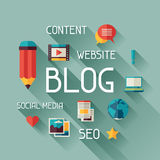 Blog concept illustration in flat design style Royalty Free Stock Image