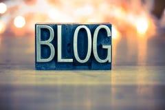 Blog Concept Metal Letterpress Type Stock Images