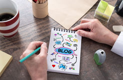 Blog concept on a notepad Royalty Free Stock Images