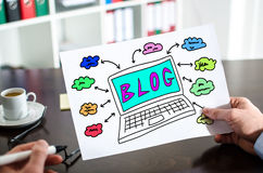 Blog concept on a paper. Hand holding a paper showing blog concept Stock Image