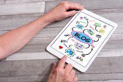 Blog concept on a tablet Royalty Free Stock Photos