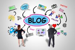 Blog concept watched by business people Royalty Free Stock Image