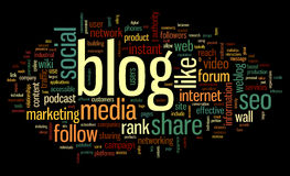 Blog concept in word tag cloud. Blog and social media concept in word tag cloud on black  background Stock Photography