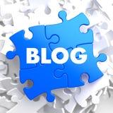 Blog - Concepton-Blau-Puzzlespiel Lizenzfreie Stockbilder