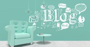 Blog conceptual graphic on 3D room wall. Digital composite of Blog conceptual graphic on 3D room wall Stock Photo