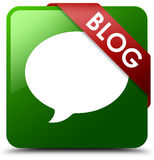 Blog conversation icon green square button Royalty Free Stock Photos