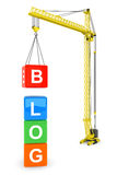 Blog Cubes with Tower Crane Royalty Free Stock Image
