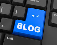 Blog. 3d blue keyboard button - blog concept Royalty Free Stock Photography