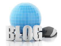 blog 3d et globe sur le fond blanc Image libre de droits