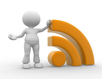 Blog. 3d people - man , person and RSS symbol ( blog Stock Photography