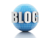 Blog 3d und Kugel auf weißem Hintergrund Lizenzfreie Stockbilder