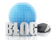 Blog 3d und Kugel auf weißem Hintergrund Lizenzfreies Stockbild