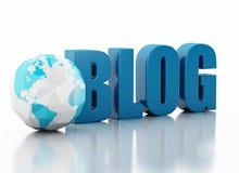 Blog 3d und niedrige Polyerdkugel auf weißem Hintergrund Stockfotografie