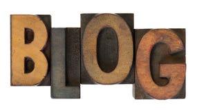 Blog dans le vieux type en bois d'impression typographique Images stock