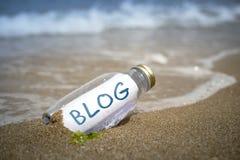 blog dans une bouteille Photo stock
