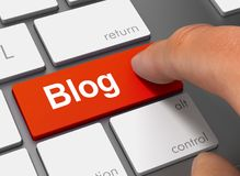 Blog, das Tastatur mit Illustration des Fingers 3d drückt Stockfoto