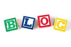 Blog - de Blokken van de Alfabetbaby op wit Stock Fotografie