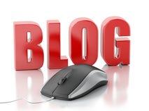 blog de la palabra 3D con el ratón de la PC Fotografía de archivo libre de regalías