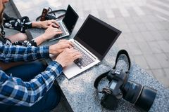 Blog de recherche d'Internet de publicité de commerce électronique photographie stock
