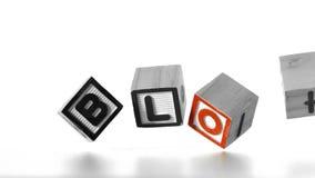 Blog deletreado hacia fuera en las letras que caen