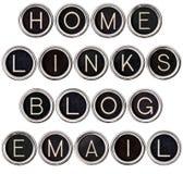 Blog dell'annata, casa, collegamenti e tasti del email Immagini Stock