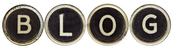 Blog in den alten Schreibmaschinen-Tasten Lizenzfreie Stockfotografie