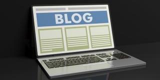 Blog der Wiedergabe 3d auf einem Laptop ` s Schirm Lizenzfreie Stockfotos