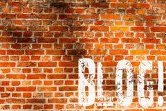 Blog des textes d'écriture de Word Concept d'affaires pour Preperation de contenu entraînant pour l'art bloguant de mur de brique image libre de droits