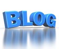 Blog des Textes 3d, lokalisiert mit Reflexion Lizenzfreie Stockfotografie