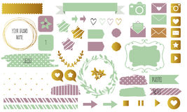 Blog design set with ribbons, stickers, logos, frames, borders and bottoms. Royalty Free Stock Photo