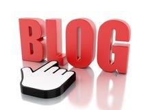 blog di parola 3D con il cursore del topo Fotografie Stock