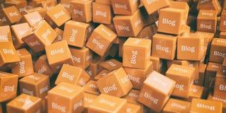 blog di parola della rappresentazione 3d sui cubi come fondo Immagini Stock