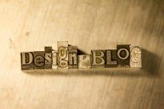 Blog di progettazione - segno del testo dello scritto tipografico Fotografia Stock