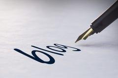 Blog di scrittura della penna stilografica Immagine Stock