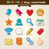 Blog di tiraggio della mano di vettore ed insieme sociale dell'icona di media Immagini Stock Libere da Diritti