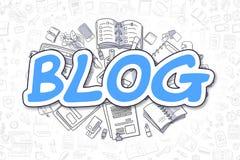 Blog - Doodle το μπλε Word χρυσή ιδιοκτησία βασικών πλήκτρων επιχειρησιακής έννοιας που φθάνει στον ουρανό Στοκ Φωτογραφίες