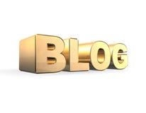 Blog dorato 3d Fotografia Stock