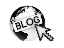 Blog with earth and computer mouse. Online blog concept. Computer render Royalty Free Stock Photo