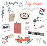 Blog elements set for the retro design Royalty Free Stock Photos