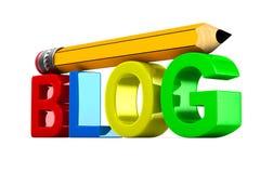 Blog en potlood op witte achtergrond Geïsoleerde 3d illustratie Royalty-vrije Stock Afbeeldingen