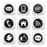 Επαφή, Ιστός, blog και κοινωνικά κουμπιά μέσων - πειραχτήρι, facebook, rss Στοκ Εικόνες